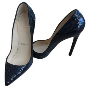 Christian Louboutin Sequin Evening Pointed Toe Date Night Black Pumps