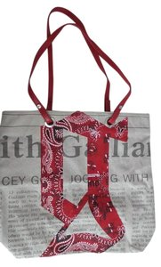 John Galliano Tote in Red, Natural