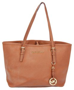 Michael Kors Mk Leather Tote in Brown