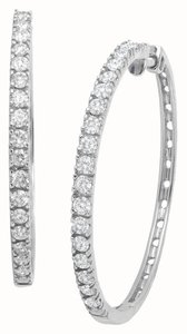 Avi and Co 1.75 cttw Round Brilliant Cut Diamond Hoop Earrings 14K White Gold