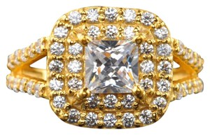 Other Solid 14k Yellow Gold 2.10ct VVS1 Flawless Manmade Diamond Ring 7 (Sizeable)