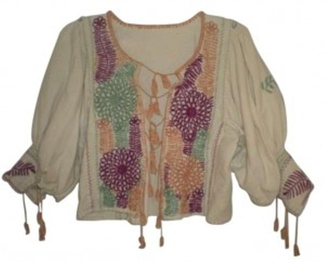 Item - Beige Multi Unique Cropped Ethnic Tassels Embroidery Jacket Size 8 (M)