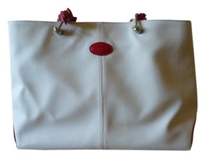 Tod's Canvas Summer Tote in Ivory & Red