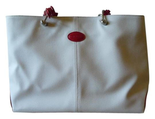 Preload https://img-static.tradesy.com/item/15790063/tod-s-ivory-and-red-canvas-leather-tote-0-1-540-540.jpg