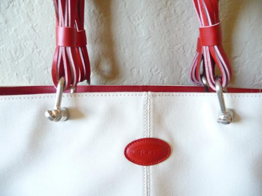 Tod's Canvas Summer Tote in Ivory & Red Image 3