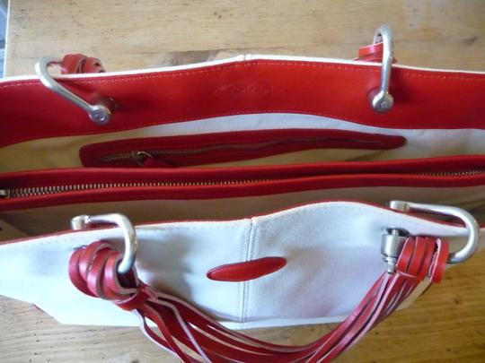 Tod's Canvas Summer Tote in Ivory & Red Image 5