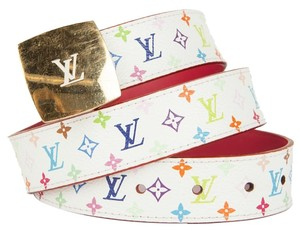 Louis Vuitton Louis Vuitton White Belt with Multicolor LV Monogram
