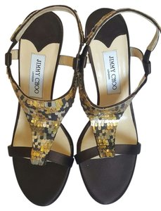 Jimmy Choo Heels Italy Sandals Brown Gold Formal