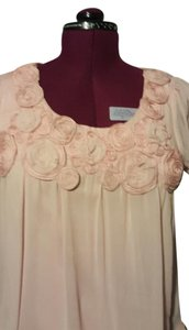 Kenar Scoop Neck Rosettes Top Pink