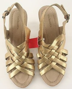 G.H. Bass & Co. Faux Leather Wooden Gold Platforms