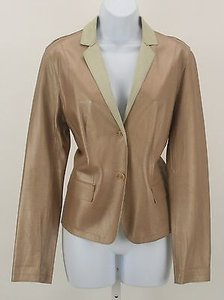 Worth Worth Rose Gold Lightweight Genuine Leather Button Ladies Blazer B176