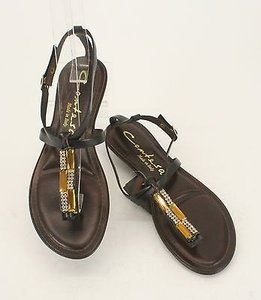 Other Contesa Gold Rhinestones Strappy B21 Brown Sandals