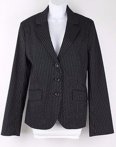 Express Express Black Silver Pinstripe Stretch Button Trend Blazer B68