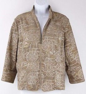 Coldwater Creek Tan Gold Taupe Embrded Zip Front Nehru Collar B68 Jacket