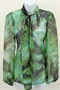 Karen Kane Multi Silk Top Green