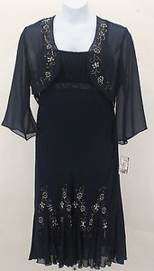 Other Sl Fashions Navy Cream Pearl Silver Sequins Pc Dress Suit B255