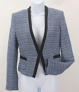 H&M Hm Lt Blue White Black Tweed Jacket