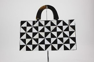 Other Of Pearl Geometric Tiles Evening B82 Black, White Clutch