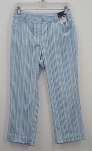 Geoffrey Beene X 23 Blue Green White Striped Capri B71 Capri/Cropped Pants Multi-Color