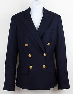 Chaps Chaps Navy Gold Button Double Breasted Lined Wool Blazer B90