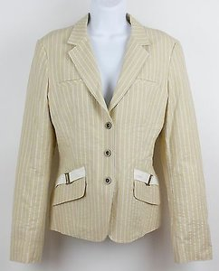 Worth Worth 14x55 Buttercup White Taupe Stripe Snap Front Blazer B83