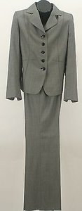 Ellen Tracy Ellen Tracy Black Cream Piece Pant Suit B150