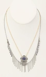 Forever 21 Forever 21 Goldtone Silvertone Blue Jewel Necklace Bj11