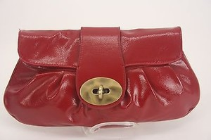 Express Lipstick Faux Patent Brushed Gold Turn Clasp B138 Red Clutch
