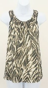 Talbots 8p Black Brown Taupe Cream Animal Print B135 Top Multi-Color