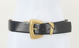 Ellen Tracy Ellen Tracy Black Buffalo Calf Leather Gold 130021 Belt B79