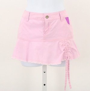 Moda International Micro Mini Ruched Front Jean B84 Skirt Pink