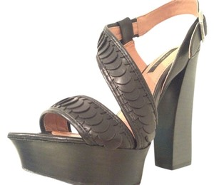 Rachel Zoe Leather Platform Sandal Ankle Strap Retro Black Pumps