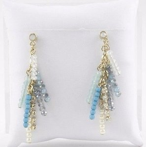Pearl Goldtone Blue Bead Rhinestone Pearl Dangle Earrings Bj13