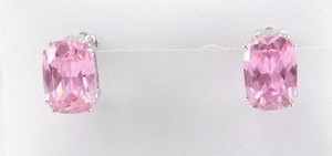 Sterling Silver 12 Pink Faceted Oval Stone Clip On Earrings Bj13