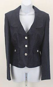 Ellen Tracy Ellen Tracy Mdnigt Blue Temu6480 Polished Linen Button Blazer B330