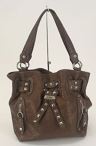 Kathy Van Zeeland Brown Stud Detail B331 Shoulder Bag