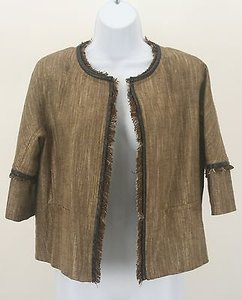 Lafayette 148 New York Lafayette 148 4p Brown Gold Taupe Metallic Frayed Leather Trim Blazer B172