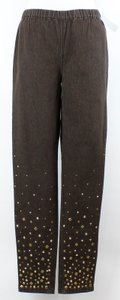DG2 by Diane Gilman Mt X Brown Gold Stud Accent Elastic Waist B106 Pants