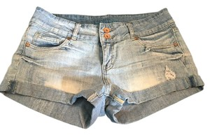 Refuge Jeans Distressed Mini/Short Shorts faded denim