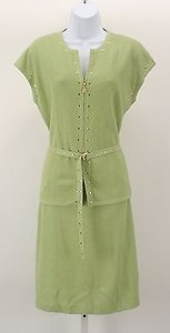 St. John short dress Lime Gold Szs 10 Studded on Tradesy