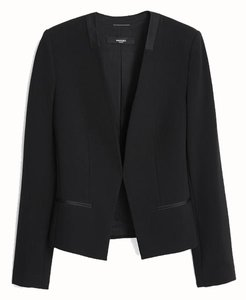 Mango Minimal Open Satin Trim Black Blazer