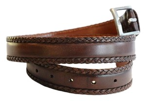 John Varvatos John,Varvatos,Brown,Braided,Trim,Leather,Belt,