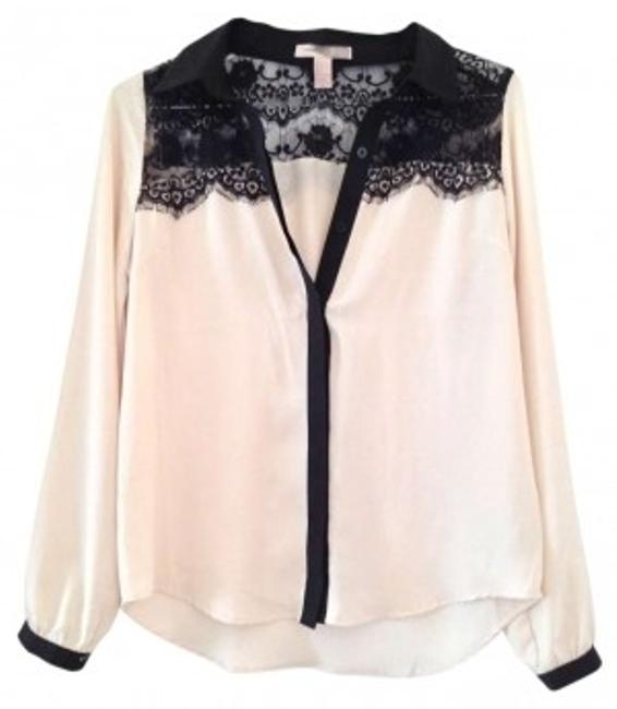 Forever 21 Button Down Shirt Ivory & Black Lace