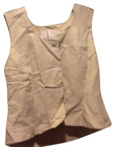 Nordstrom Brand Linen Or Vest Four Buttons Top Beige