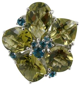 Sima K Sima K 12.85ct Olive Quartz and London Blue Topaz Sterling Silver Flower Ring - Size 8