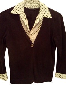 Notations Button-down Cardigan Layer Top Black white polka dot