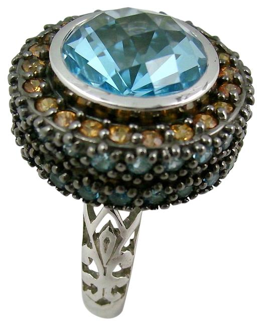 Item - Blue Topaz 11.42ct and Gemstone Sterling Silver - Size 10 Ring