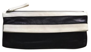 Kenneth Cole Leather Black Lambskin Black Leather Black/Ivory Clutch