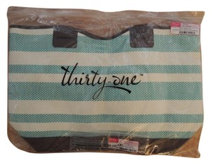 Tote in Turquoise Stripe version (pattern 936A) and has deep chocolate brown accents