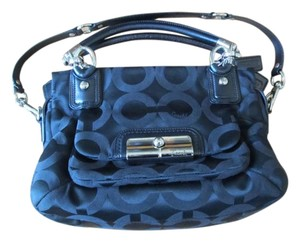 Coach Leather Trim Jacquard Op Art Satchel in Black/Silver
